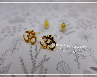 Aum / Om symbol earrings - Yellow Gold - White gold - Pink gold plated - Silver plated - brass available.// SALE //
