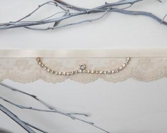 Lace crystal bridal garter - cream lace garter- lace wedding garter - cream bridal garter - victorian bridal garter - vintage garter