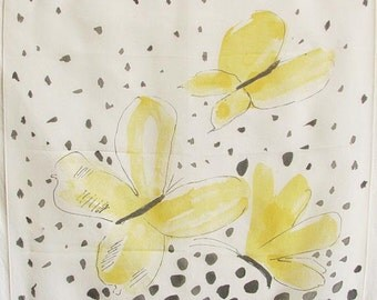Vintage 1960s Sheer Scarf VERA Butterfly Print Silk Blend Designer Accessory UNWORN with Tag