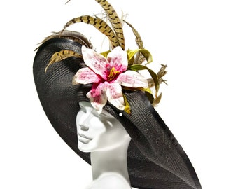 WIDE BRIM Kentucky Derby Hat,  Easter Hat, Large Brim, Black Panama Straw