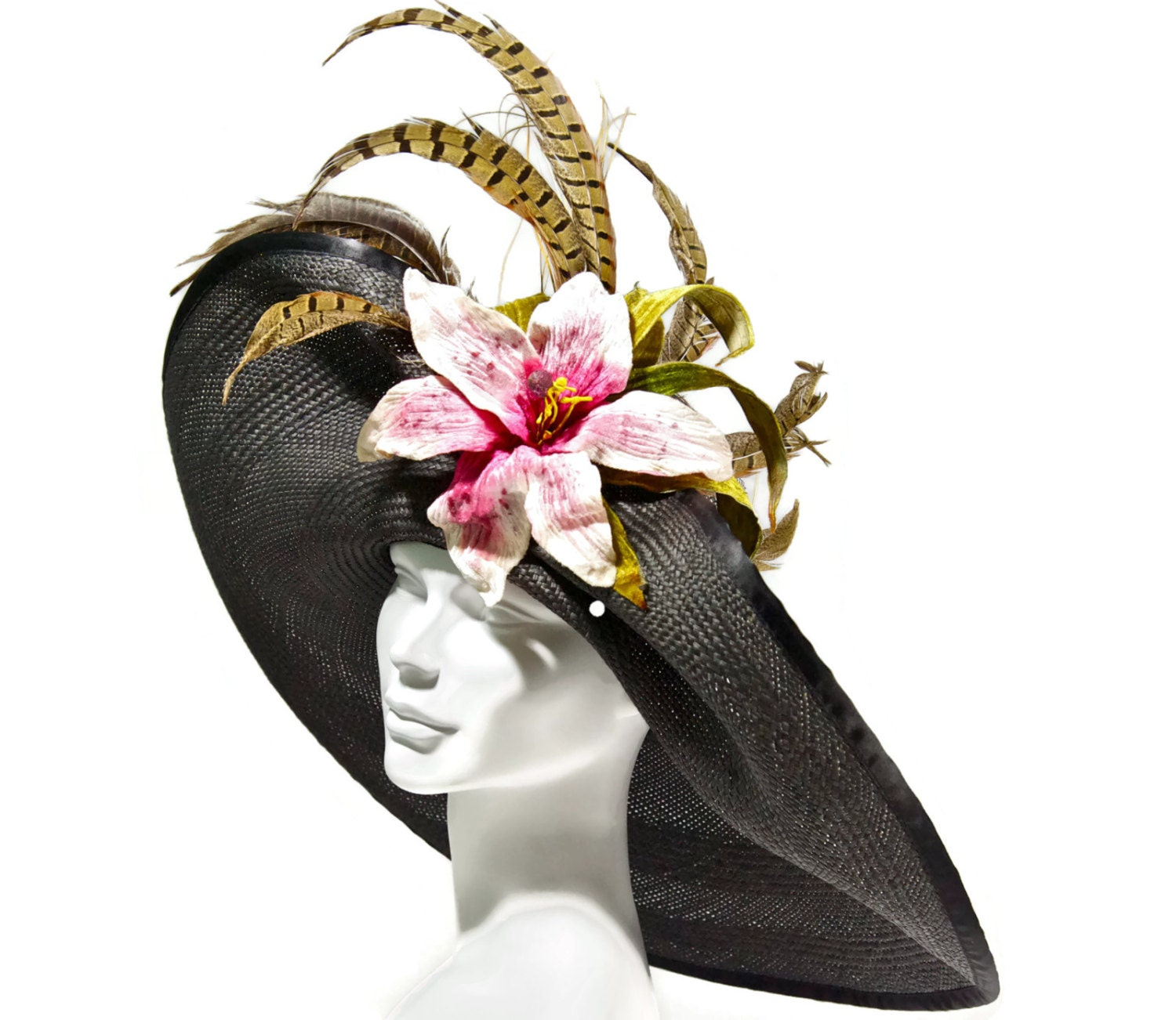 05fe8607ca9 WIDE BRIM Kentucky Derby Hat Easter Hat Large Brim Black. WIDE BRIM  Kentucky Derby. White Derby Hat with pink flower ...