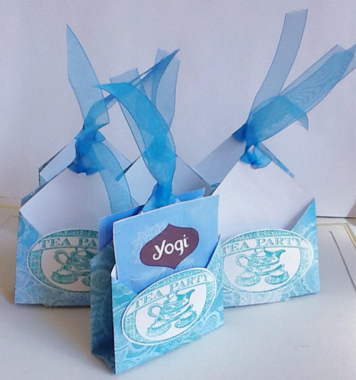 tea bag holders handmade tea favors blue teal by