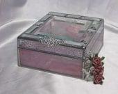 """Jewelry  Keepsake Trinket Gift Box in stained glass (5.5"""" x 6.5"""" )"""