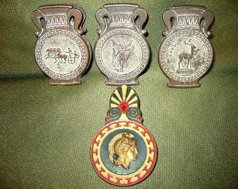 Lot of 4 Greek Metal Decorative Clamps Ancient Greek Images Greek Gods and Goddess