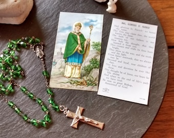 green glass chippy upcycled rosary Holy Mary necklace vintage Peaky Blinders gypsy Valentine's Day St Patrick's religious jewelry gift