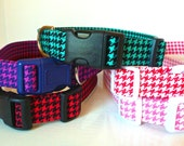 """Houndstooth Dog Collar-Red, Purple, Teal, Pink & Salmon  - """"Houndstooth"""" - NO Extra Charge for colored buckles"""