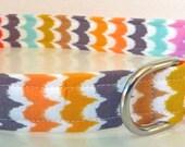 "Collar, Dog Collar, Geometric Dog Collar - ""Summer Waves"" - Free Colored Buckles"