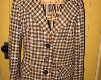 Tattersall plaid wool blazer jacket 1950s 1960s Gordon of Philadelphia size 10