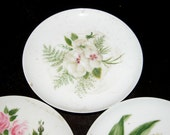 Victorian Saucer Set 1880s HANDPAINTED CHINA Saucers Artist Signed HandPainted Porcelain