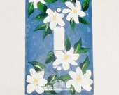 Hand painted crackle - look Shabby Chic light switch cover; Blue with white daisies Cottage Chic wall decor; Acrylic home decor