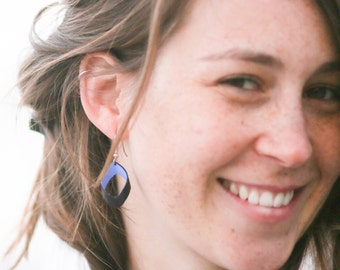 Iris Inner Tube Jewelry, Eco Friendly Earrings, Unique hand painted bike tube earrings