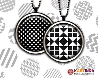 1 inch (25mm) & 1.5 inch Black White GEOMETRIC PATTERNS images for resin pendants bezel settings magnets bottle caps Making Glass Cabochon