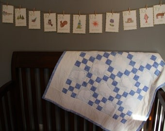 Blue Flannel Lambie Baby Quilt