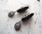 Boho glam spiritual earrings black onyx earrings gemstone earrings cross earrings rock n roll earrings black earrings sterling earrings long