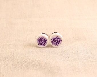Purple Rose Post Earrings Polymer Clay
