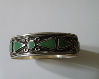 Silver Turquoise Inlay Bangle
