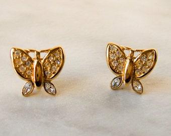 Monet Rhinestone butterfly earrings    Vintage earrings