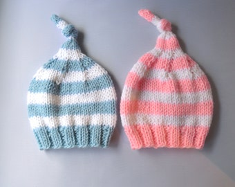 Knit Twin Baby Hat Set, Twin Baby Gift, Knit Baby Hat Set, Baby Twin Hats, Pink and Blue Baby Hats, Twin Hats Knit, Twin Baby Gift