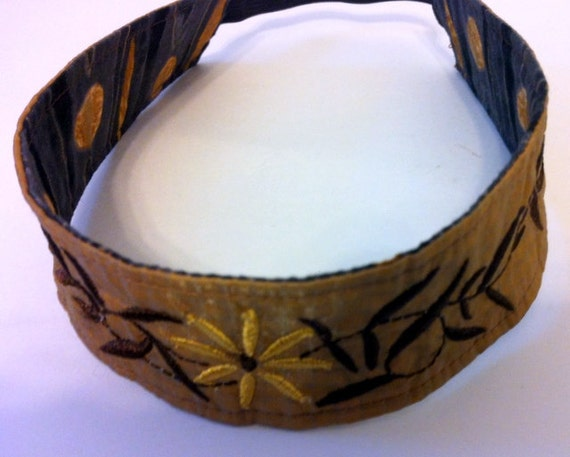 Brown Embroidered Reversible Headband Recycled Paraglider Floral Eco Friendly