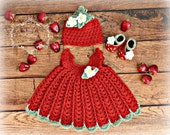 Strawberry Dress with Hat and Shoes - Newborn to 18 Months