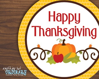 Happy Thanksgiving Gift Tags, DIY Editable Thanksgiving Circle Labels, INSTANT DOWNLOAD, digital printable file