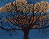 Autumn Tree Silhouette Against Blue Sky Original Painting - Last day at this SALE price