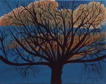 Autumn Tree Silhouette Against Blue Sky  - Framed Original Painting - Last day at this SALE price