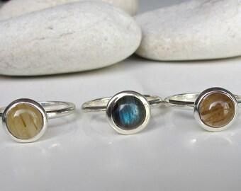 Stack Ring- Labradorite Ring- Quartz Ring- Rutilated Quartz Ring- Jewelry Gift- Gemstone Stack Ring- Ring- Statement Ring- Anniversary Ring