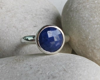 Round Blue Sapphire Ring- September Birthstone Ring- Blue Gemstone Ring- Solitaire Sterling Silver Ring- Something Blue Ring- Faceted Ring
