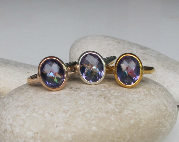 Mystic Topaz Ring- Colorful Festival Ring- Oval Stackable Boho Ring- Blue Purple Ring- Unique Gemstone Ring- Sterling Silver Mystical Ring