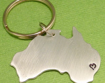 My heart belongs in Australia - A Hand Stamped Aluminum Keychain - READY to SHIP