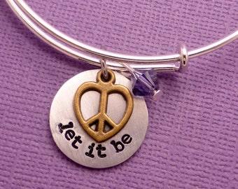 The Beatles Inspired - let it be - Adjustable Bangle Bracelet