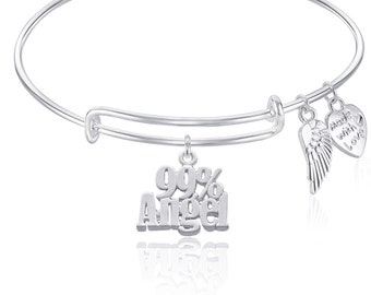 99% ANGEL Expandable Wire Bangle Bracelet with Angel Wing Charm Silver Finish GIFT BOXED