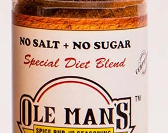 Ole Man's Spice Rub & Seasoning - New! Special Diet Blend NO SALT or SUGAR - 1.6 oz-Free Shipping