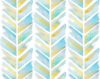 Crib Sheet in Blue and Gold Watercolor Chevron