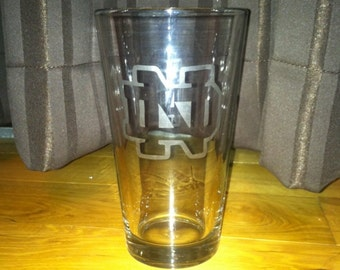 Notre Dame University College Etched Pint Glass