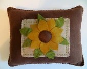 Handmade Felt and Wool Pillow, OFG, FAAP, Felt Burlap Wool Pillow, Sunflower Pillow Appliqued with Cross Stitch, Handmade Pillow, Felt
