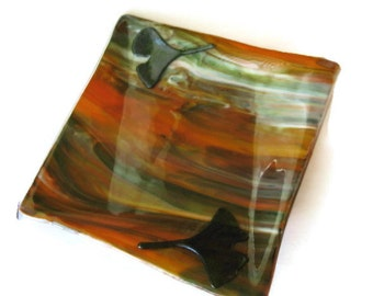 Origami dish - earth tones fused glass plate or candle holder with gingko leaves