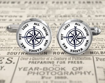 Cuff Links - Nautical 5 - Cufflinks - Compass All Those Who Wander Are Not Lost - Choice of Finish & Size - Bronze Silver