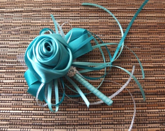 Boutonniere, Teal Satin Rose Boutonniere, groomsman Corsage