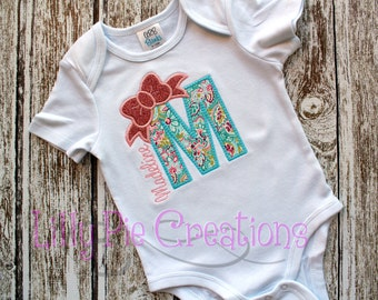Girl Personalized Initial Applique Shirt, Baby Shower Gift, Baby Girl Gift, Bow Shirt, Initial Shirt, Personalized Baby Girl, Girl Birthday