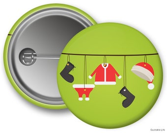 Christmas Clothesline // Great For Stocking Stuffers or Holiday Parties // Pin Back Button