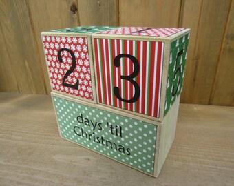 Christmas Countdown Blocks - red, green - days 'til Christmas