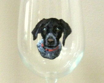 German Pointer Spaniel, Custom Pet Portrait, Personalized Dog,  Wine Glass, Home Decor, Pet Loss Memorial, Dog Art, Animal Art