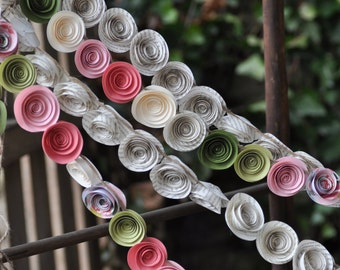 Coral and Sage Green Paper Flower Garland Shower garland Wedding Flower Garland- 22 feet