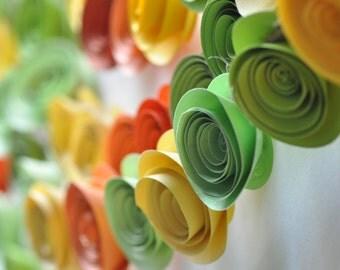 Bright paper flower garland-Green Paper Flower Garland- Shower garland Wedding Flower Garland- 20 feet