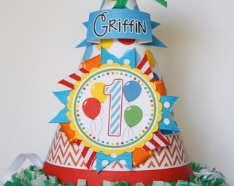 Colorful Balloons Birthday Party Hat, Balloons Party Hat