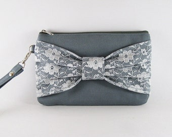 SUPER SALE - Gray Lace Bow Clutch - Bridal Clutches, Bridesmaid Wristlet, Wedding Gift - Made To Order