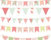 Shabby Chic Bunting, Tags / Frames & Papers - digital clipart for cards, photography, scrapbooking, invites, general craft work