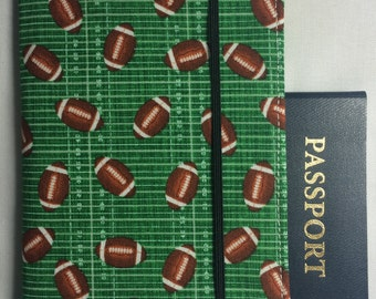 Laminated Passport Wallet - Football Field with Footballs- Green- Plastic ID slot, 2 card pockets and Elastic Closure